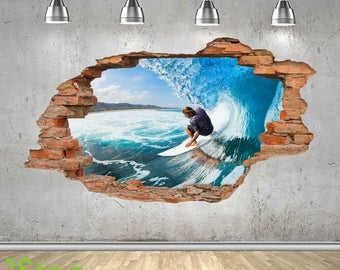 Surfing Wall Sticker 3d Look - Ocean Sea Paradise Beach Bedroom Lounge Z424