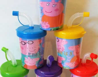 Peppa Pig Party Favor Cups, Peppa Pig Personalized Birthday Party Favor Cups SET OF 6