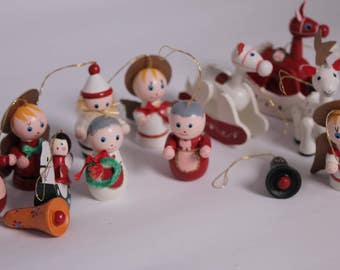 SALE  - Set of 10 Vintage Wood Christmas Ornament from the 1980's