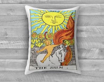 """Tarot Card Throw Pillow- Major Arcana XIX """"The Sun"""""""