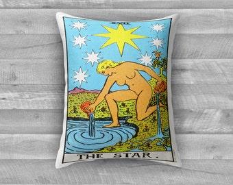 """Tarot Card Throw Pillow- Major Arcana XVII """"The Star"""""""