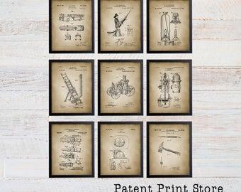 Firefighter Patent Prints. Fireman Patent Prints. Firetruck Wall Art. Boy Nursery. Boy Bedroom. Firefighter Gift. Fireman Gift. Firetruck.