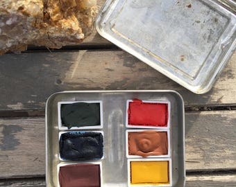 The Mount Antero Set.  A handmade watercolor paint set featuring 6 full pans in a vintage tin.