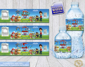 Paw Patrol Bottle Labels.Paw Patrol Labels.Water Bottle Labels.Paw Patrol.Paw Patrol Party.Paw Patrol Birthday.Party Printable.Boys Party.