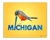 """Michigan State Bird Art Print   Robin Mistakes a Letter """"i"""" for a Worm   Original Watercolor Illustration on Beautiful 100% Cotton Paper"""