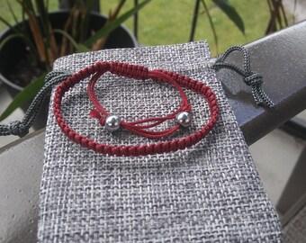 Macrame Square Knot Bracelet - Burgundy - Handmade
