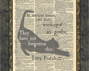 Terry Pratchett quotes artwork print. Discworld quote. Cat artwork print. Cat lover gift. Vintage print