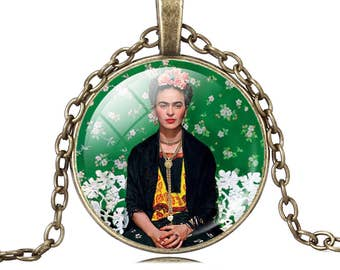 Frida Kahlo Vogue Frida necklace pendant cabochon glass image of Frida