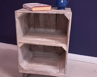 Side table, coffee table or bedside table from reclaimed apple crate