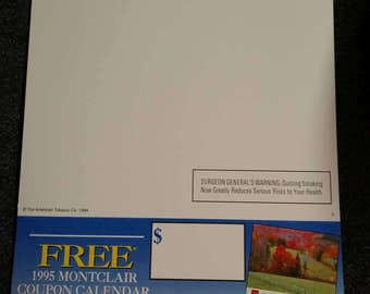 Montclair Cigarettes Calendar Advertising Piece/Shelf Dangler