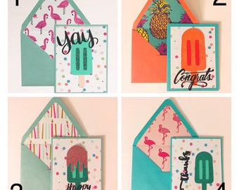 Popsicle Greeting Cards - Thanks, Happy Birthday, Congrats, Yay, Awesome, Treat yo self, Gracias, Hola...Handmade for summer celebrations