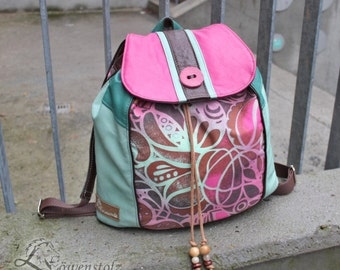 Backpack, leather, cotton, pink, mint