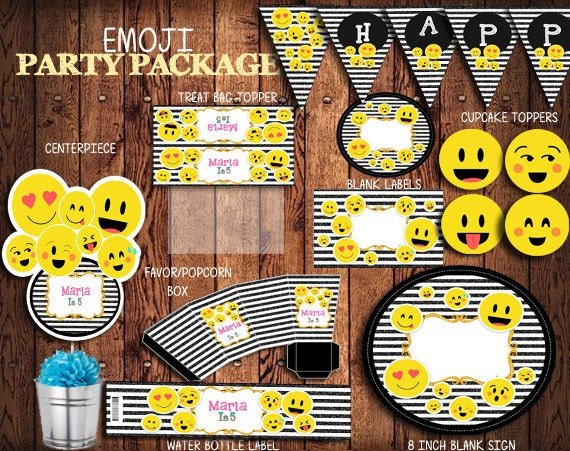 Emoji Personalized Printable Party Kit