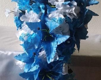 Malibu Blue White Rose Tiger Lily Cascading Bridal Wedding Bouquet & Boutonniere