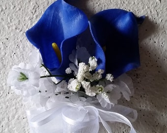 Royal Blue Real Touch Calla Lily Corsage or Boutonniere
