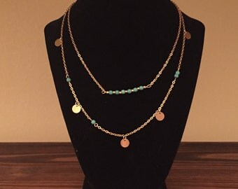 Gold Tone Multi Layer Faux Turquoise Necklace