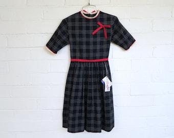DEADSTOCK 1950s Plaid Schoolgirl Dress