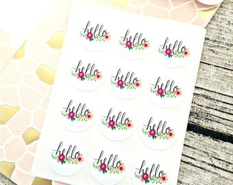 Flower hello stickers, Round hello stickers, Round flower stickers, Flower envelope seals, Pretty hello labels, Snail mail stickers, Pen pal