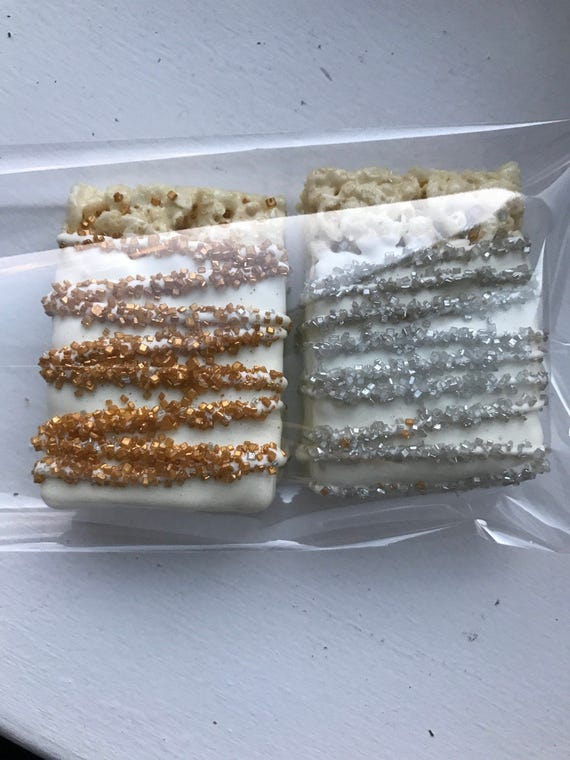 1 Doz Chocolate Covered Rice Krisy Gold Silver Baptism Wedding Bridal Shower Communion Engagement Formal