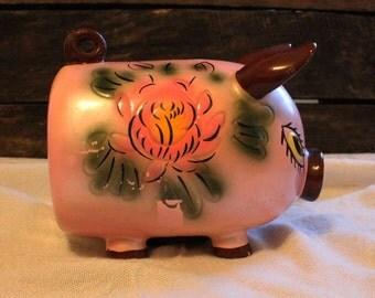 Vintage Ceramaster Ceramic Piggy Bank from the 1960's, Handpainted Vintage Piggy Bank, Mid Century Piggy Bank