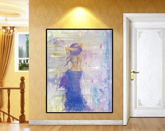 Abstract Lady Oil Painting, Large Canvas Wall Decor, Colorful Oil On Canvas, Original Oil Art, Abstract Woman Painting, Large Oil Painting