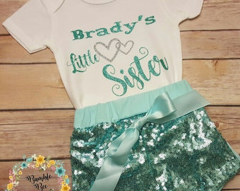 Monogramed, Personalized, Newborn, Coming Home, Little Sister Bodysuit, Onesie, Baby Girl, Sequined 3 Piece Outfit