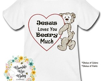 Infant, Unisex, Girl or Boy, Newborn, Bodysuit, T-Shirt, Super Cute, Birthday, Baby, Shower Gift, Jesus Loves You