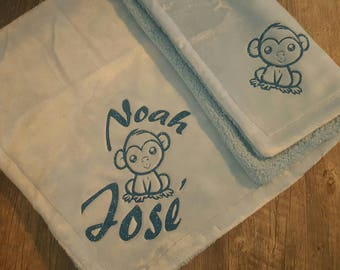 Custom,  Personalized, Baby Boy, Light Blue or White, Fluffy Soft Baby Blanket...Any Monogram You Wish