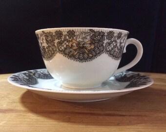 Limoges-France Georges Bayer Black Lace Design - China / Porcelain Cappuccino Cup & Saucer / Vintage 1980's
