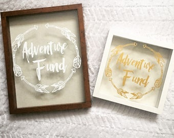 Adventure fund shadow box decal/decal/piggy bank decal/savings fund decal
