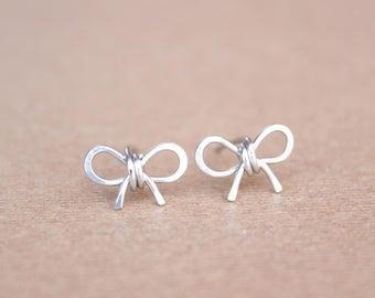 Bow Earrings Bow Stud Earrings Sterling Silver Bow Earrings Best Friend Earrings Tie The Knot Earrings Delicate Stud Earrings DiAndDe