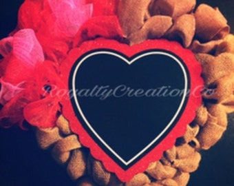 Valentines Burlap & Mesh Wreath With Heart Chalkboard