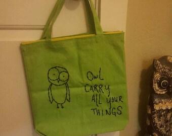 Green Owl Pun Tote