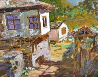 Original painting, Art, Gift,  A pretty village, Old house