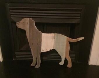 Labrador Retriever Wooden Silhouette  Re-purposed Handmade