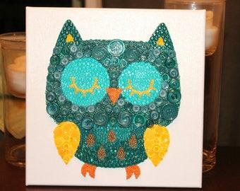 Owl canvas, Owl nursery decor, Button Art, owl decor, Owl Gifts, owl nursery wall art, owl gifts for women, Woodland nursery, Owl room decor