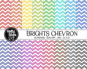 Buy 1 Get 1 Free!! 16 Bright Chevron Digital Paper • Rainbow Digital Paper • Commercial Use • Instant Download • #CHEVRON-108-1-B