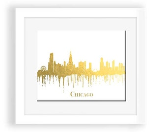 Chicago skyline, gold chicago, gold chicago wall art, chicago printable, chicago print, golden, chicago wall art, chicago watercolor