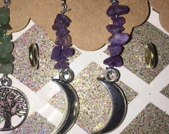 Amethyst chip moon earrings