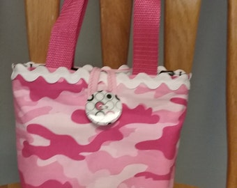 Little Girls Purse, Little Girls Handbag, Little Girls Tote Bag, Kids Purse, Pink Camo Girls Purse