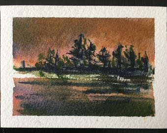 "Storm Lifting - mini Original Watercolor Painting by Anne Pouch ACEO ATC 2.5"" x 3.5"""