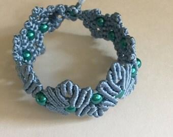 handmade micro macrame woven bracelet blue with beads