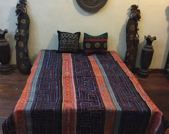 Vintage HandMade Tribal  Hmong embroidered  batik cotton blanket in the north of Vietnam