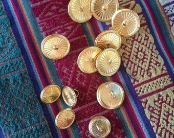 12 Vintage gold starburst buttons c1960s