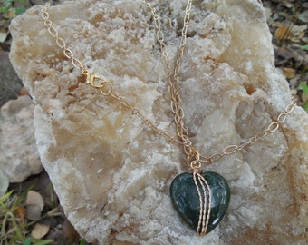 Wire Wrapped Green Jasper Heart Pendant