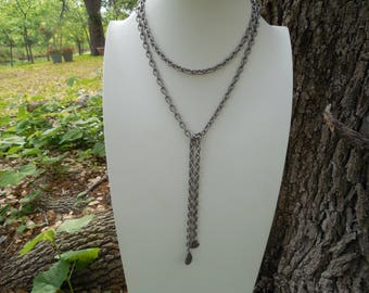 Antiqued Silver Lariat Style Boho Necklace