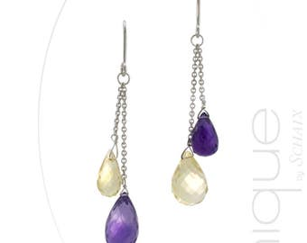 Earrings citrine and Amethyst - hand made in france