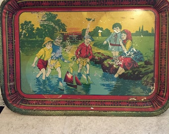 Vintage Tin Serving Tray  Decorative Tray Depicting Children Playing  rare