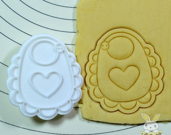 Bib with Heart Cookie Cutter and Stamp Set