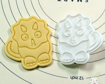 Cute Triceratops Cookie Cutter and Stamp
